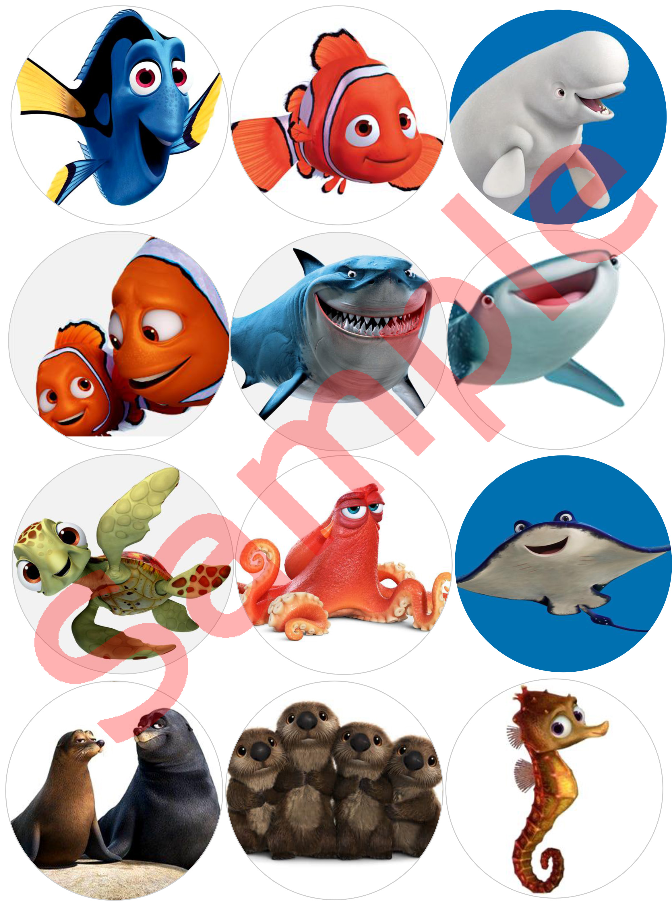 Nemo Dory 1 Sheet X 12 Cupcake Toppers For Edible Print Outs
